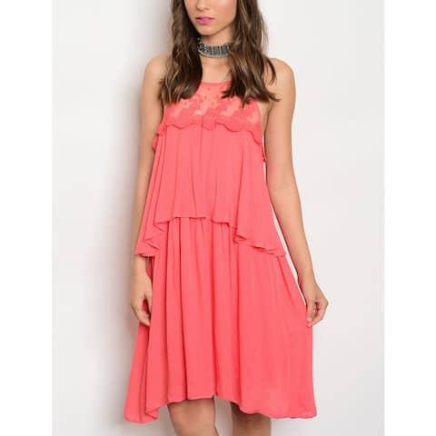 JED Women's Coral Soft Cotton Elastic Waist Sleeveless Tier Dress