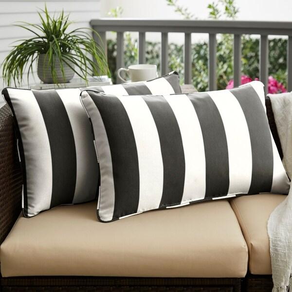 Sunbrella Cabana Classic Indoor/ Outdoor Corded Lumbar Pillow, Set of 2