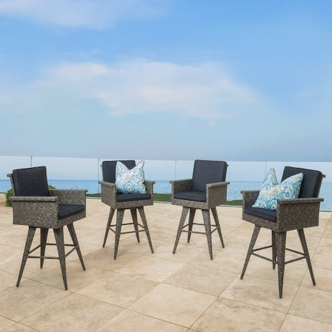 Puerta Outdoor Wicker Barstool with Cushions (Set of 4) by Christopher Knight Home