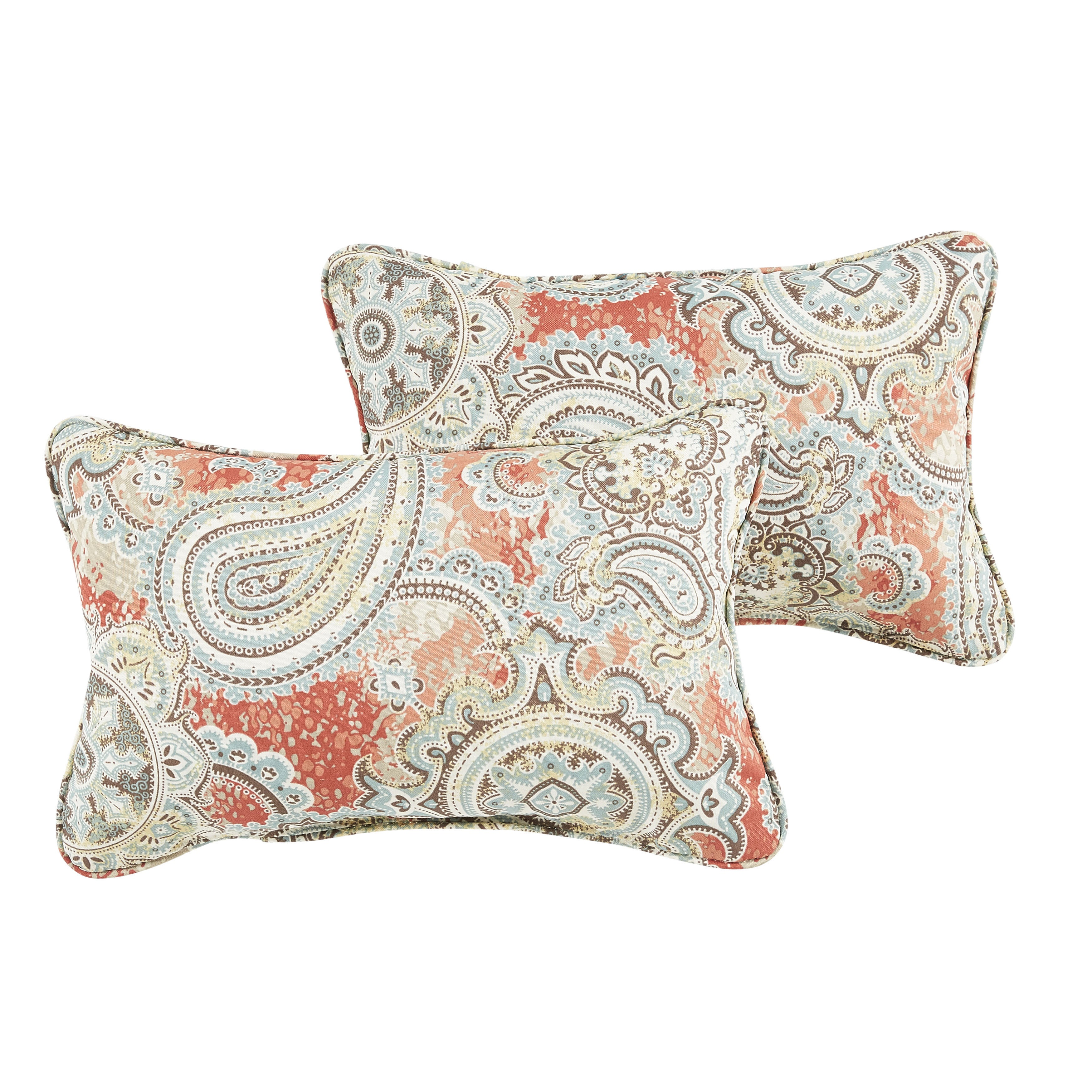Corragan Coral Paisley Indoor/ Outdoor 13 x 20-inch Corded Pillow Set (OSPS7293)