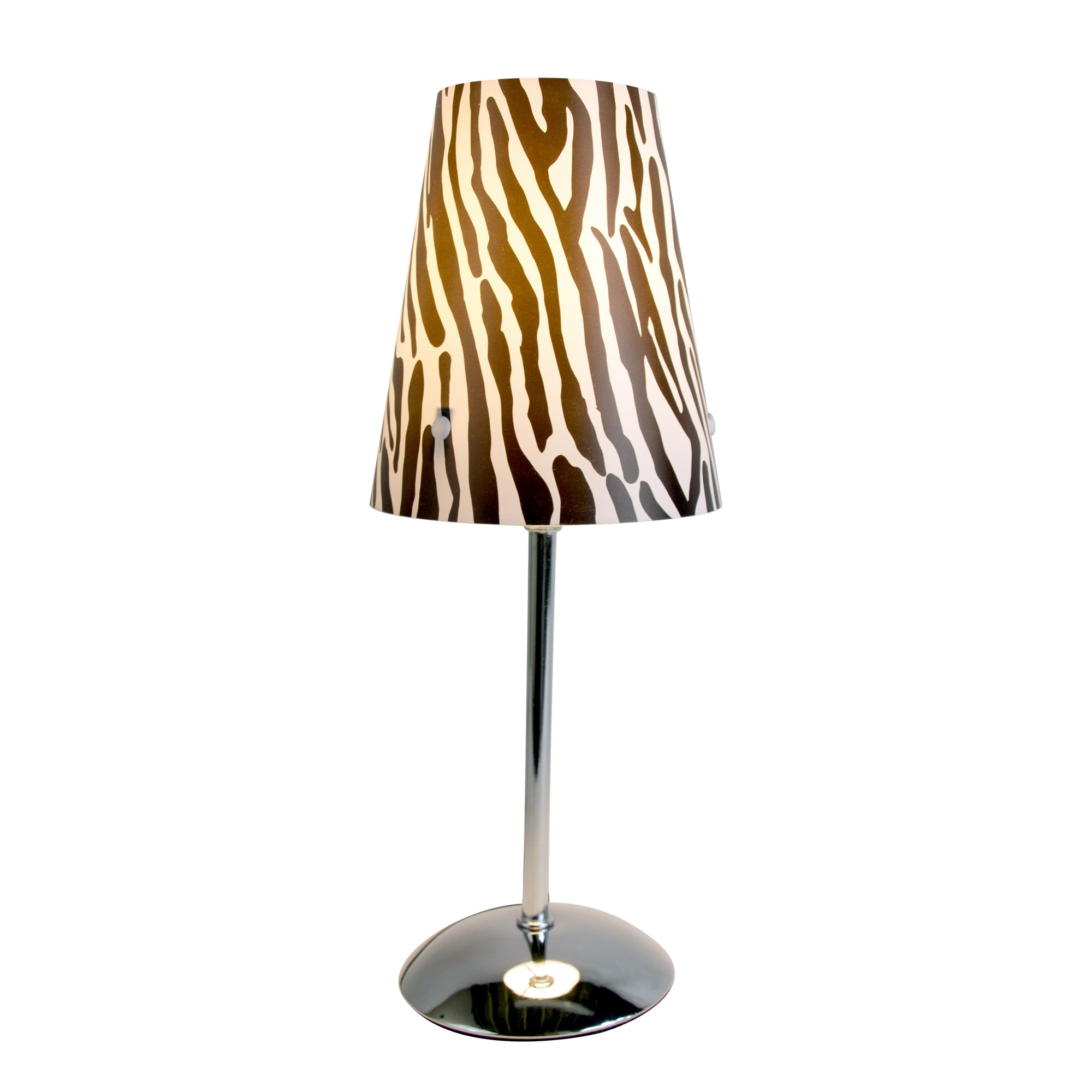 Silvertone Limelights Mini Silver Table Lamp with Zebra P...