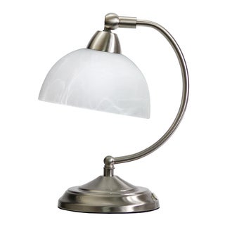 Link to Elegant Designs Modern Mini-Banker's Brushed Nickel Desk Lamp with Touch Dimmer Control Base Similar Items in Desk Lamps