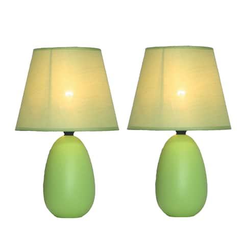 Simple Designs Green Mini-Egg Oval Ceramic Table Lamp (Set of 2)
