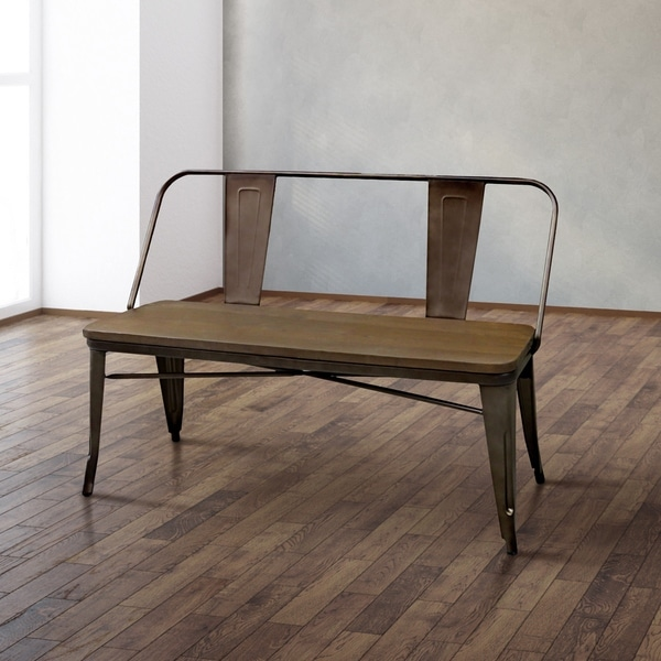 Tripton Extra Large Dining Bench: Shop Tripton Industrial Natural Elm Dining Bench By FOA