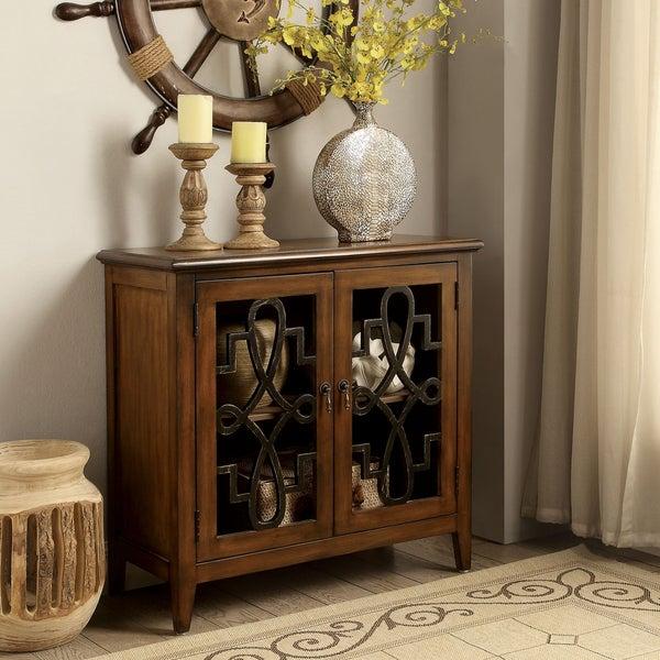 Furniture Of America Geranium Vintage Decorative 2 Shelf Brown Storage Cabinet
