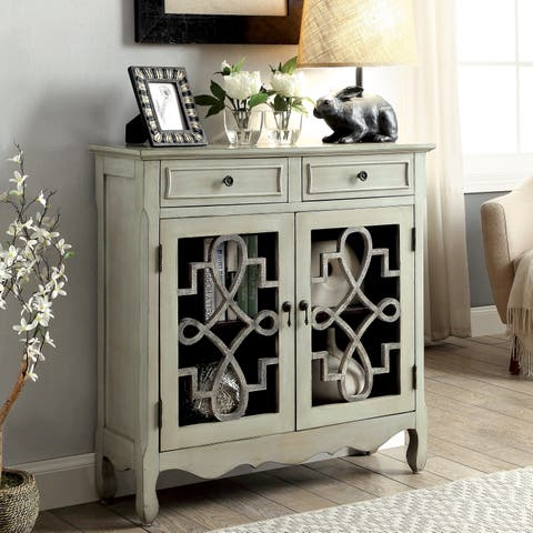 Furniture of America Bellen Vintage Sage 2-shelf Storage Cabinet