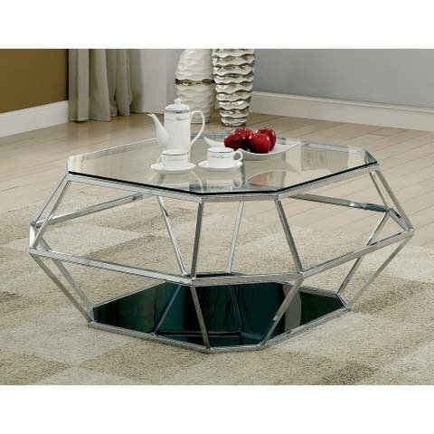 Furniture of America Nese Contemporary Chrome Metal Coffee Table