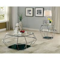 Furniture of America Dexter Contemporary Hexagonal Glass Top Chrome End Table