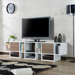 Furniture of America Veruca Contemporary Two-tone White/Chestnut Brown 82-inch TV Stand