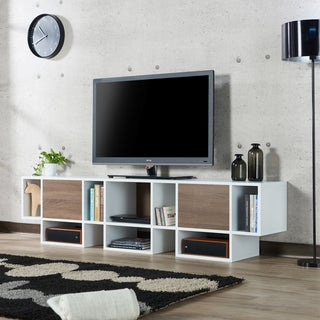 Furniture of America Veruca Contemporary Two-tone White/Chestnut Brown 82-inch TV Stand