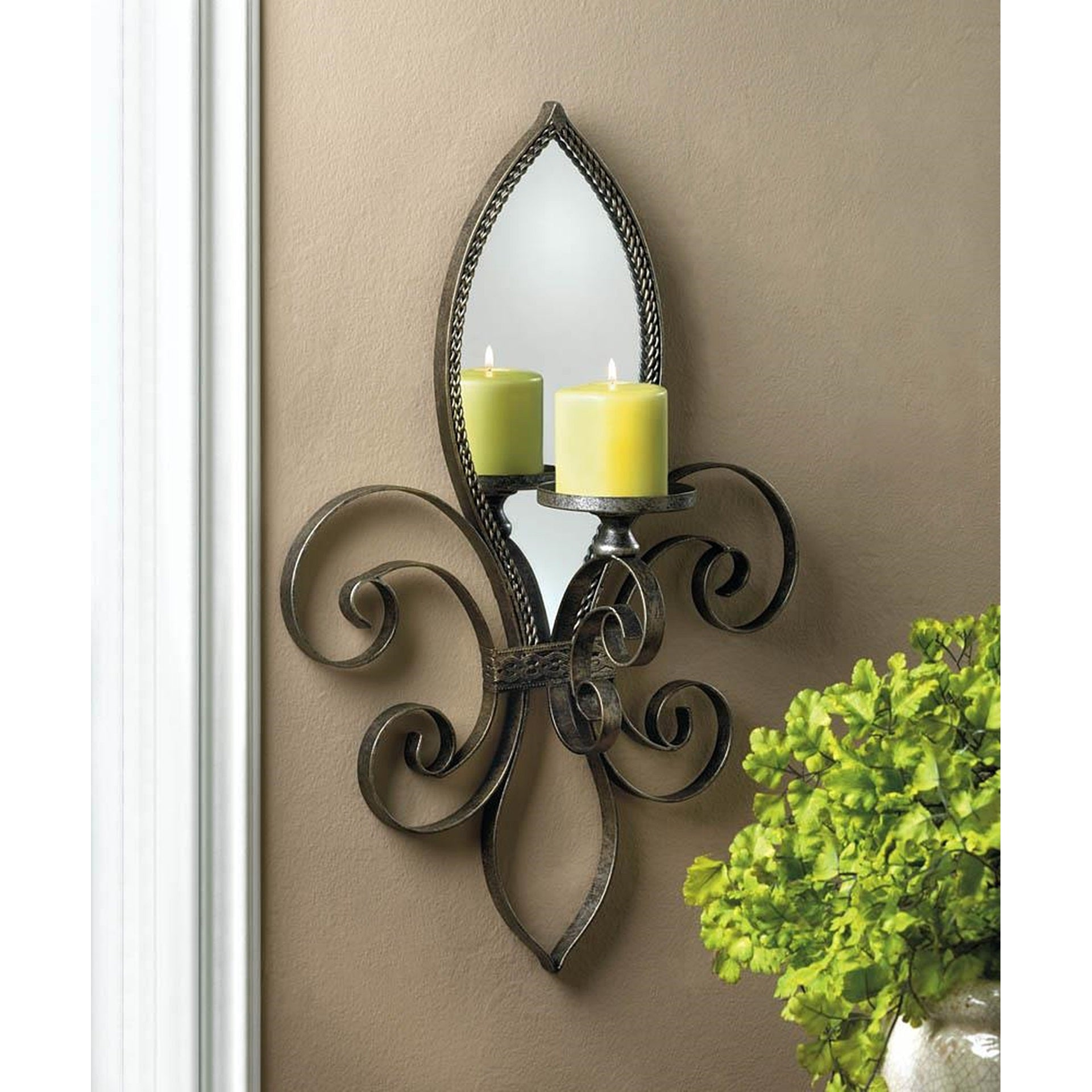 Caroline French Candle Wall Sconce, Grey (Glass)