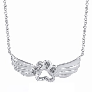 Tender Voices Diamond Accent Paw Angel Fashion Pendant in Sterling Silver