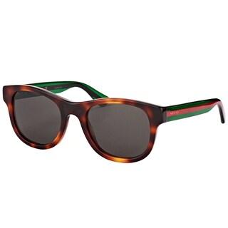 Gucci GG 0003S 003 Havana Plastic Square Sunglasses Grey Lens