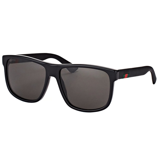 f2171ba91e Shop Gucci GG 0010S 001 Black Plastic Rectangle Sunglasses Grey Lens ...