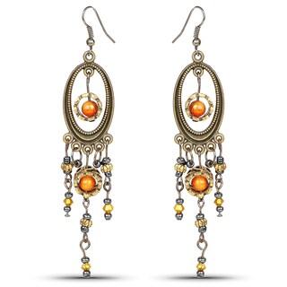 Liliana Bella Two Tone Chandelier Earrings with Orange Stone