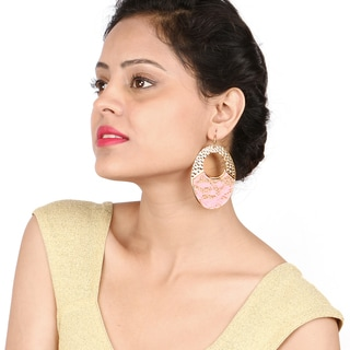 Liliana Bella Gold Plated Handcrafted Pink Fashion Dangle Earrings