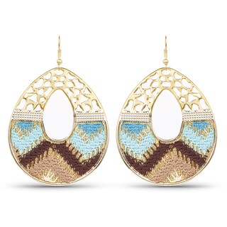 Liliana Bella Gold Plated Handcrafted Blue & Brown Dangle Earrings