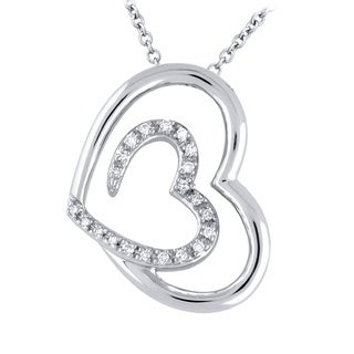 Sterling Silver 1/10CTtw Double Heart Pendant