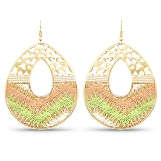 Liliana Bella Gold Plated Handcrafted Green & Peach Dangle Earrings