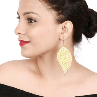 Liliana Bella Yellow Leaf Shape Fashion Dangle Earrings