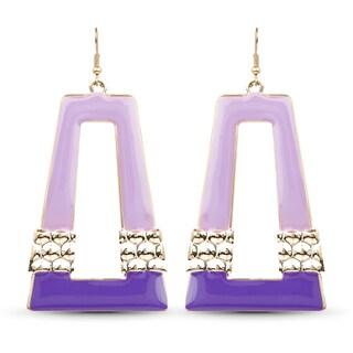 Liliana Bella Gold Plated Purple Fashion Hoop Dangle Earrings