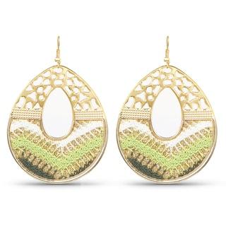 Liliana Bella Gold Plated Handcrafted Green Dangle Earrings