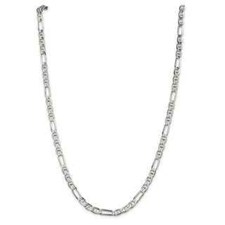 Sterling Silver 5.5mm Figaro Anchor Chain - White