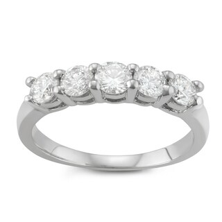 JewelMore. 14k White Gold 1ct TDW Diamond Five Stone Anniversary Ring (I-J, I2-I3)