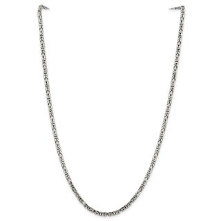 Sterling Silver 3.25mm Byzantine Chain - White