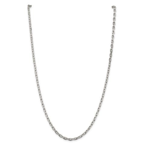 Sterling Silver Polished 3.95mm Beveled Oval Cable Chain by Versil