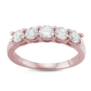 JewelMore 14k Rose Gold 1ct TDW Diamond Five Stone Anniversary Ring (I-J, I2-I3)