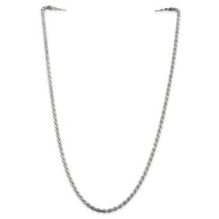 Sterling Silver Rhodium-plated 3mm Diamond-cut Rope Chain - White