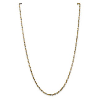Versil Two-tone Sterling Silver and Vermeil 2.5mm D/C Rope Chain Nck
