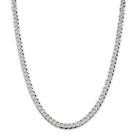 Sterling Silver 6mm Beveled Curb Chain by Versil