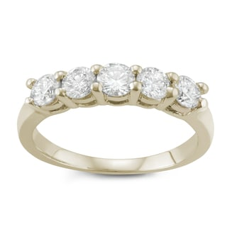 JewelMore. 14k Yellow Gold 1ct TDW Diamond Five Stone Anniversary Ring (I-J, I2-I3)