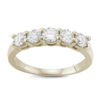 JewelMore. 14k Yellow Gold 1ct TDW Diamond Five Stone Anniversary Ring (I-J, I2-I3)