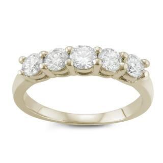 JewelMore. 14k Yellow Gold 1ct TDW Diamond Five Stone Anniversary Ring (I-J, I2-I3) https://ak1.ostkcdn.com/images/products/14713442/P21243415.jpg?impolicy=medium