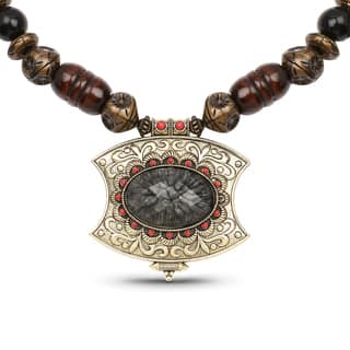 Liliana Bella Oxidised Gold Plated Brown Wooden Beaded Necklace with Grey Stone|https://ak1.ostkcdn.com/images/products/14713444/P21243416.jpg?impolicy=medium