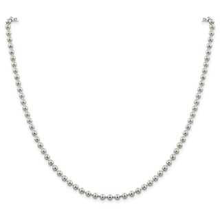 Sterling Silver Polished Hollow 4mm Ball Beaded Necklace by Versil