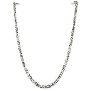 Versil Sterling Silver 5mm Square Byzantine Chain