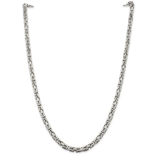 Sterling Silver 5mm Square Byzantine Chain - White