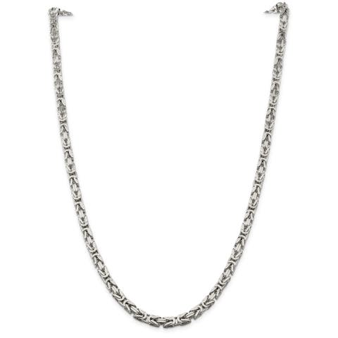 Sterling Silver Polished 5mm Square Byzantine Chain by Versil