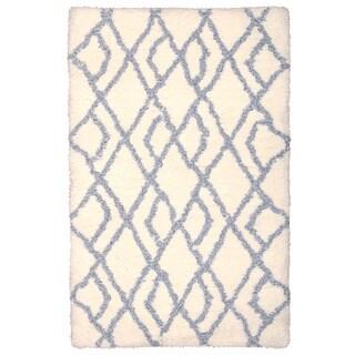 Rug Squared Portland Patterned Ivory/Blue Shag Rug (2'6 x 4')