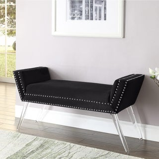 Garbo Velvet Modern Contemporary Nailhead Trim Acrylic Legs Bench