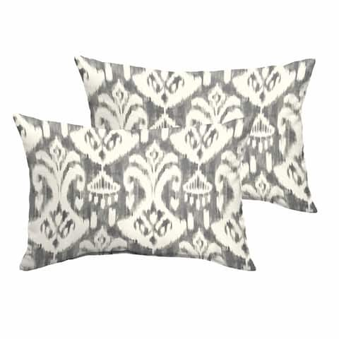 Rainford Grey/ Cream Indoor/ Outdoor 13 x 20 Inch Knife Edge Pillow Set