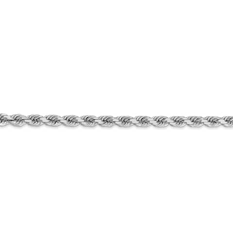 Versil 14 Karat White Gold 4mm Diamond-cut finish Rope Chain