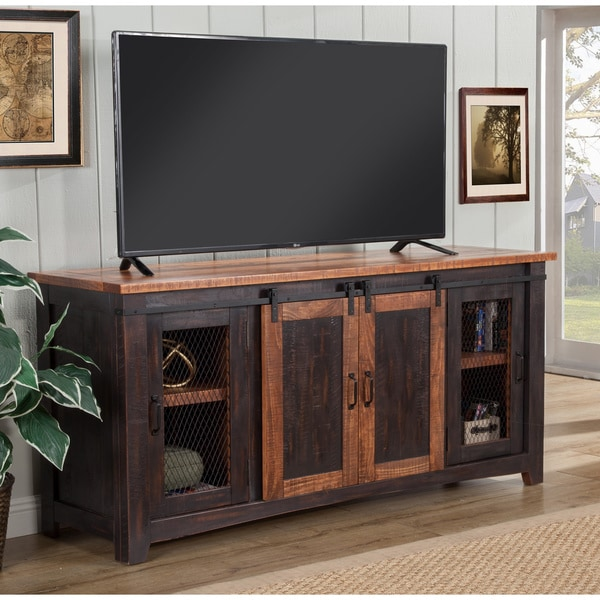 Martin Svensson Home Santa Fe 65-inch Pine TV Stand - 65 inches in width. Opens flyout.