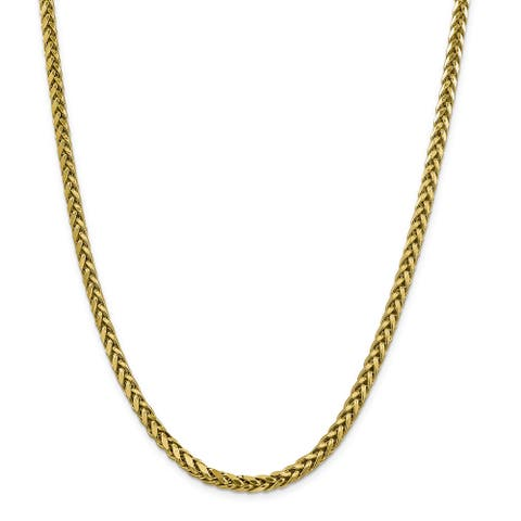 14K Yellow Gold 5mm Semi-solid Diamond Cut Wheat Chain Necklace by Versil
