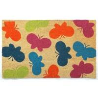 Multicolor Coir Butterfly Door Mat (17 x 29)