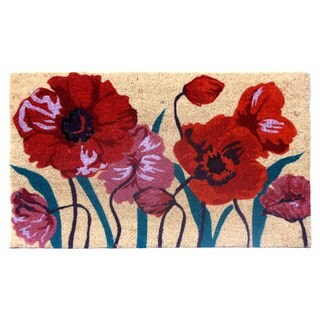 Red/Orange/Mauve Floral Coir Door Mat (17 Inch x 29 Inch)